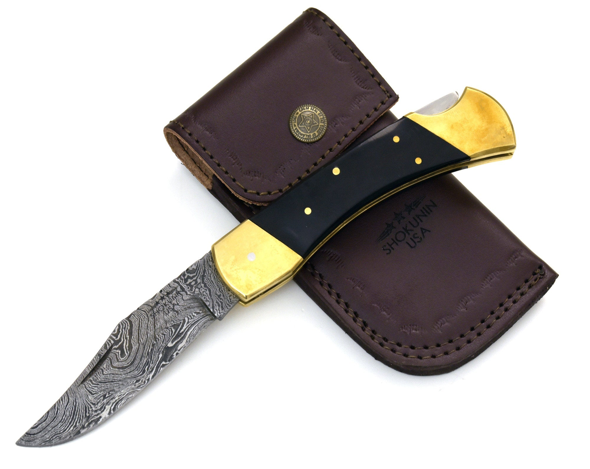 "DAMASCUS Knife, Folding knife, Pocket knife, EDC damascus steel hunting utility knife tactical camping knife 8.75"" Every day carry HORN - SHOKUNIN USA"