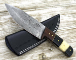 ARES, HAND FORGED Damascus steel hunting camping tactical utility knife highly figured Walnut wood handle tear drop pattern damscus 30-029 - SHOKUNIN USA
