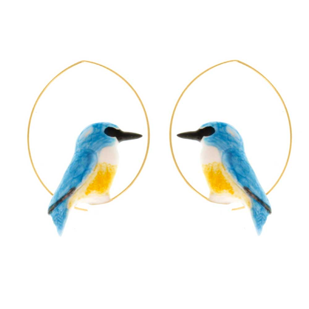 Creole hoop earrings with hand painted porcelain kingfisher figurine.  Brass with gold plating  3.5 cm  For fit & styling advice, please email or call us in store +353 1 6794188 | info@costumedublin.ie