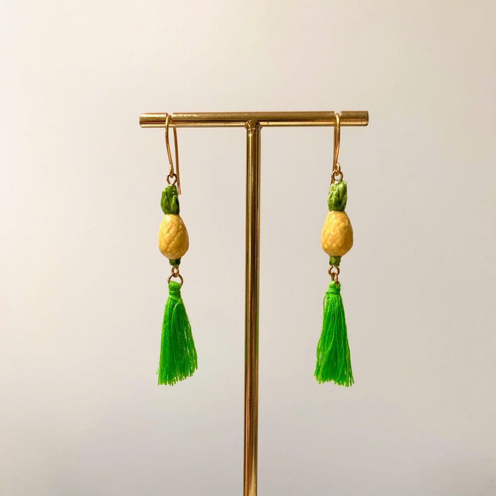 Nach Pinapple Pompom Earrings