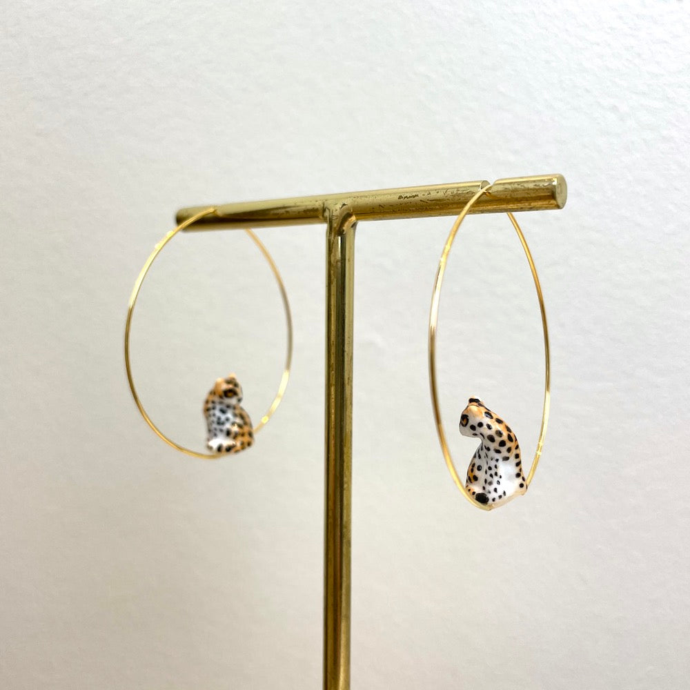 Nach Sitting Leopard Hoop Earrings