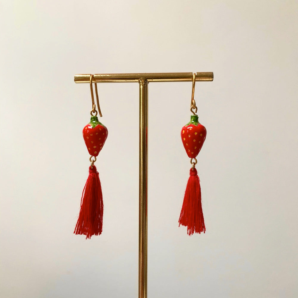 Nach Strawberry Pompom Earrings'