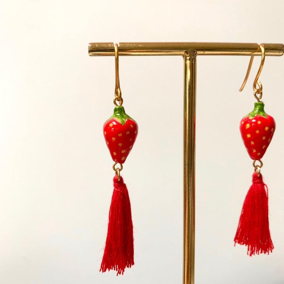 Nach Strawberry Pompom Earrings