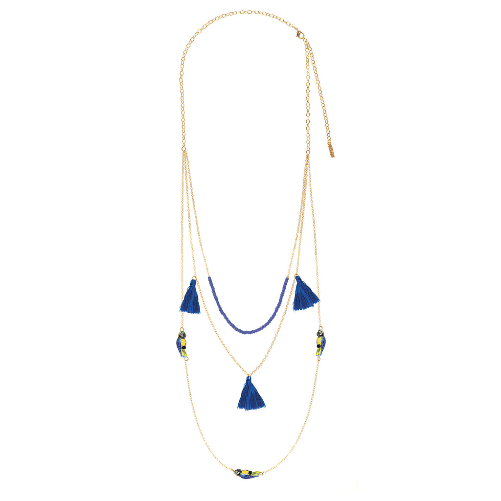 Nach Multi Chain Blue Parrot Necklace