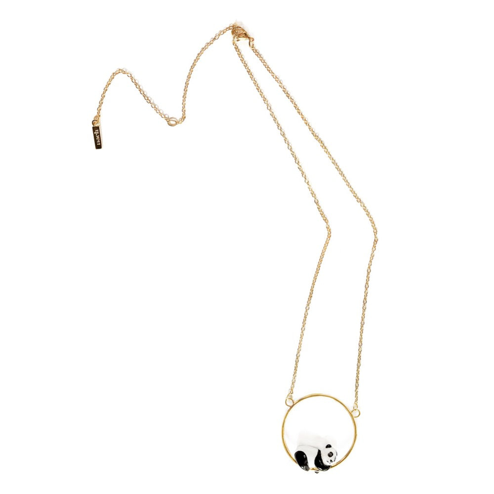 Nach Sleeping Panda Necklace featuring hand painted porcelain sleeping panda figurine.