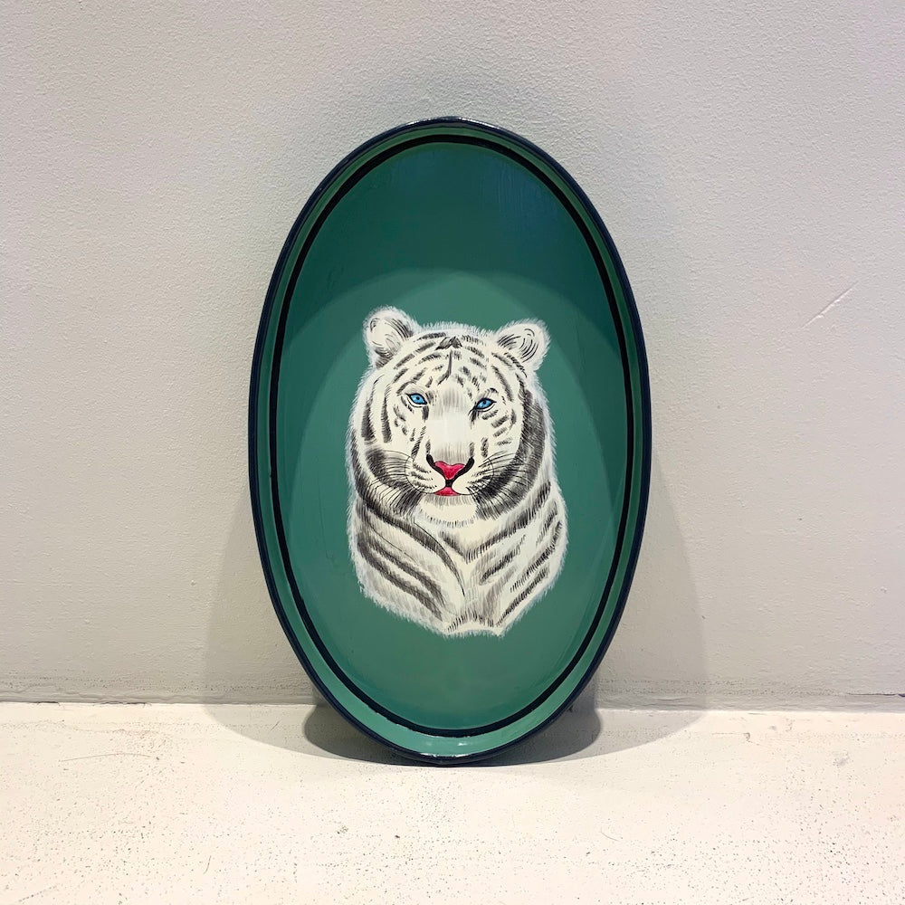 Ottomans Hand Painted Iron Tray - Tiger