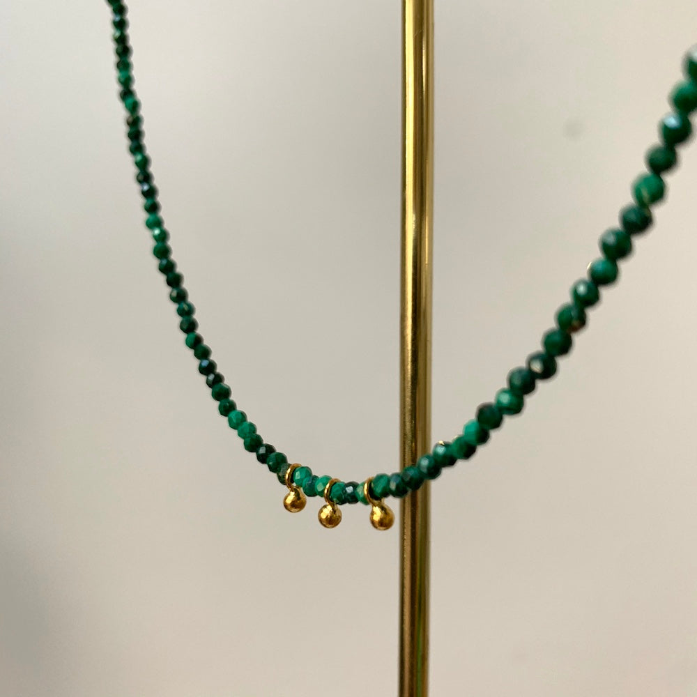 Precieux Gem Facet Necklace Malachite