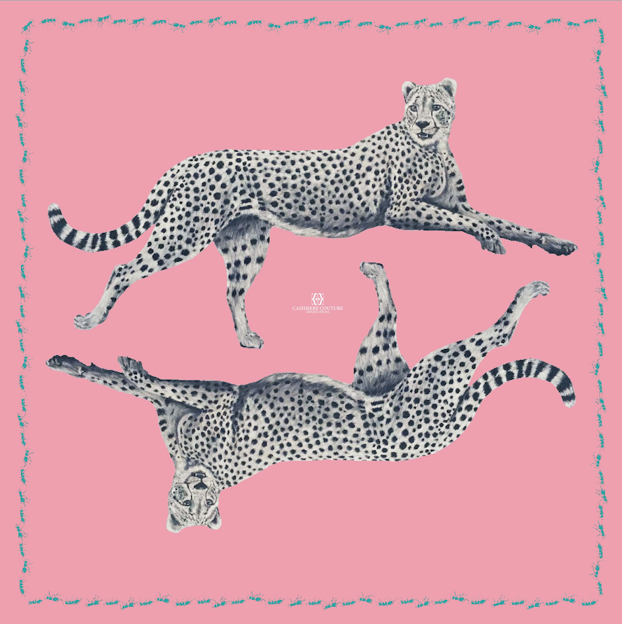 Simone Bruns Leopard and Ant Scarf Pink   Strong pink fine cashmere with delicate leopard print and surrounded by marching turquoise ants  100% Cashmere