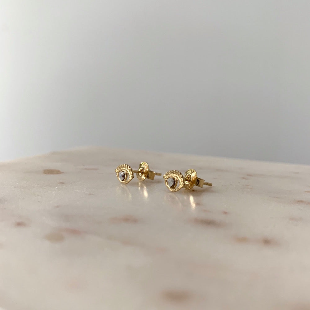 Stalactite Puce Mini Eye Stud Earrings
