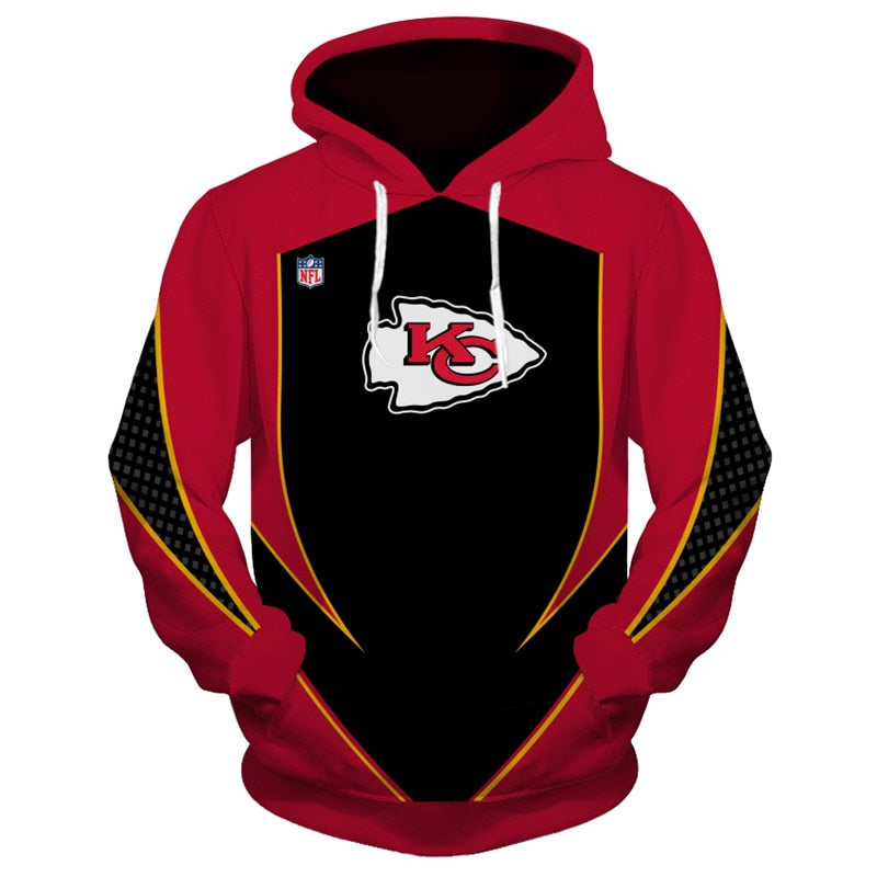 low priced eae40 7d812 Kansas City Chiefs Hoodie 3D Football Sweatshirt Pullover NFL