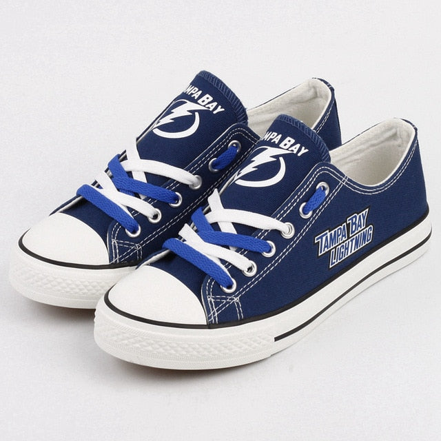 finest selection 8e75b e0538 Canvas shoes print logo of Ice hockey teams Tampa Bay Lightning shoes for  fans