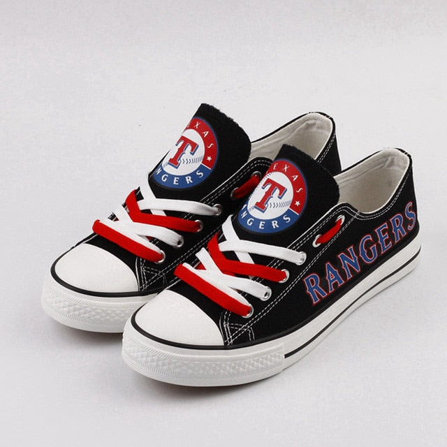 new styles 163d2 2b31e Texas Rangers Team MLB Flat Canvas Shoes Customize Low Top shoes for Women