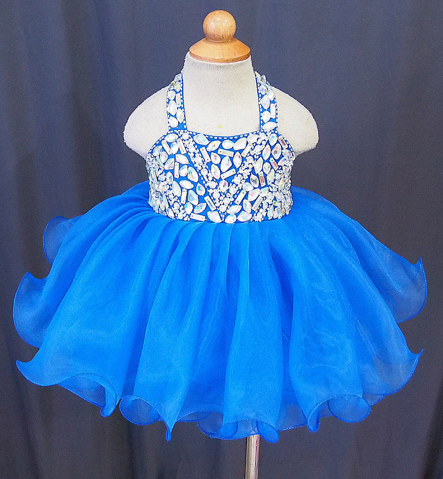 Infant//toddler//baby Blue Crystals Halter Bow Pageant Dress G079