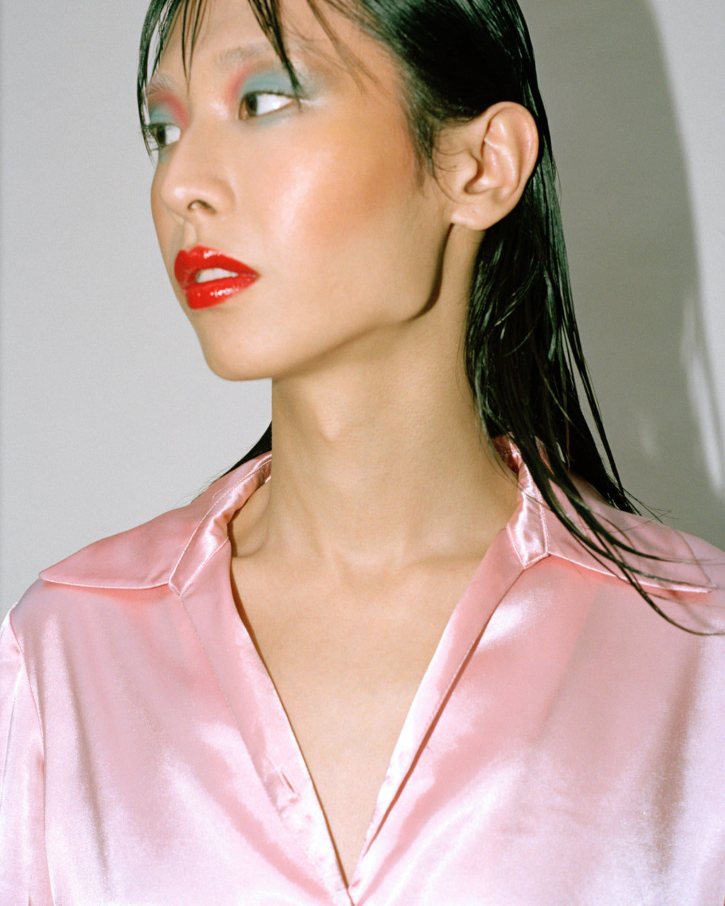 Baby Pink Liquid Satin Shirt