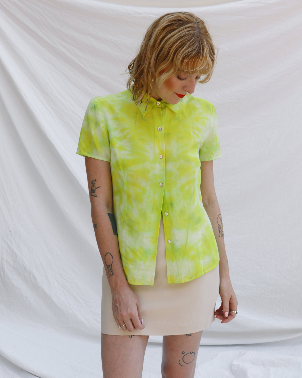 Lime Green Button Up Blouse