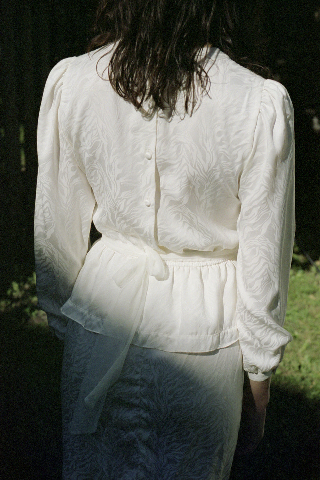 1980s White Long Sleeve Dress