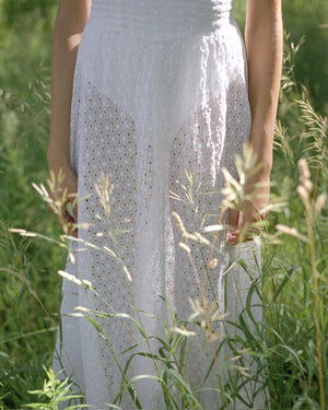 Sheer Daisy Lace White Dress