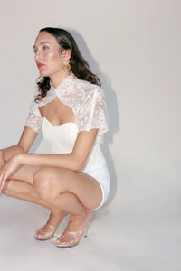 White Lace Capelet Topper