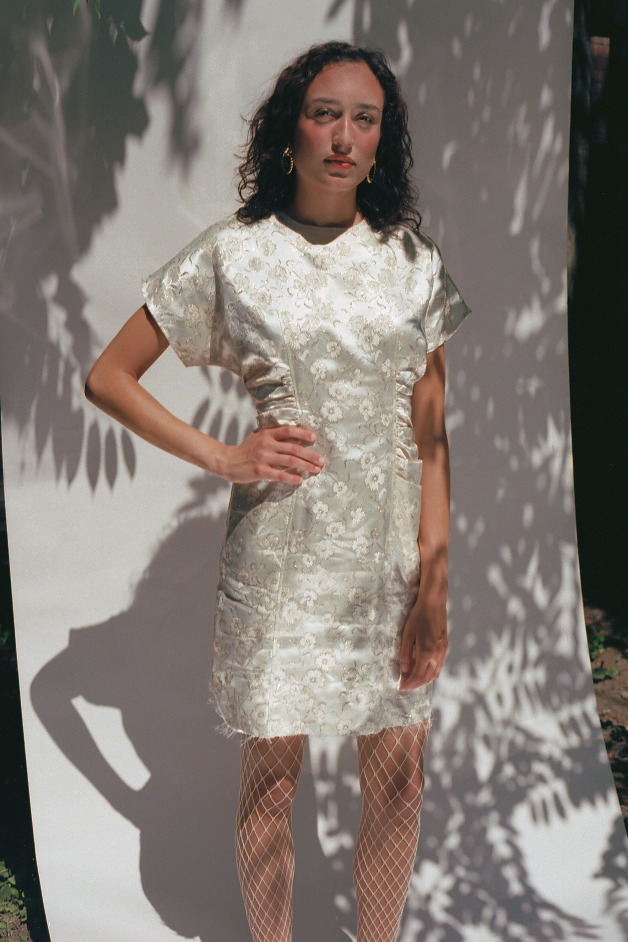 1980s White & Gold Satin Brocade Dress
