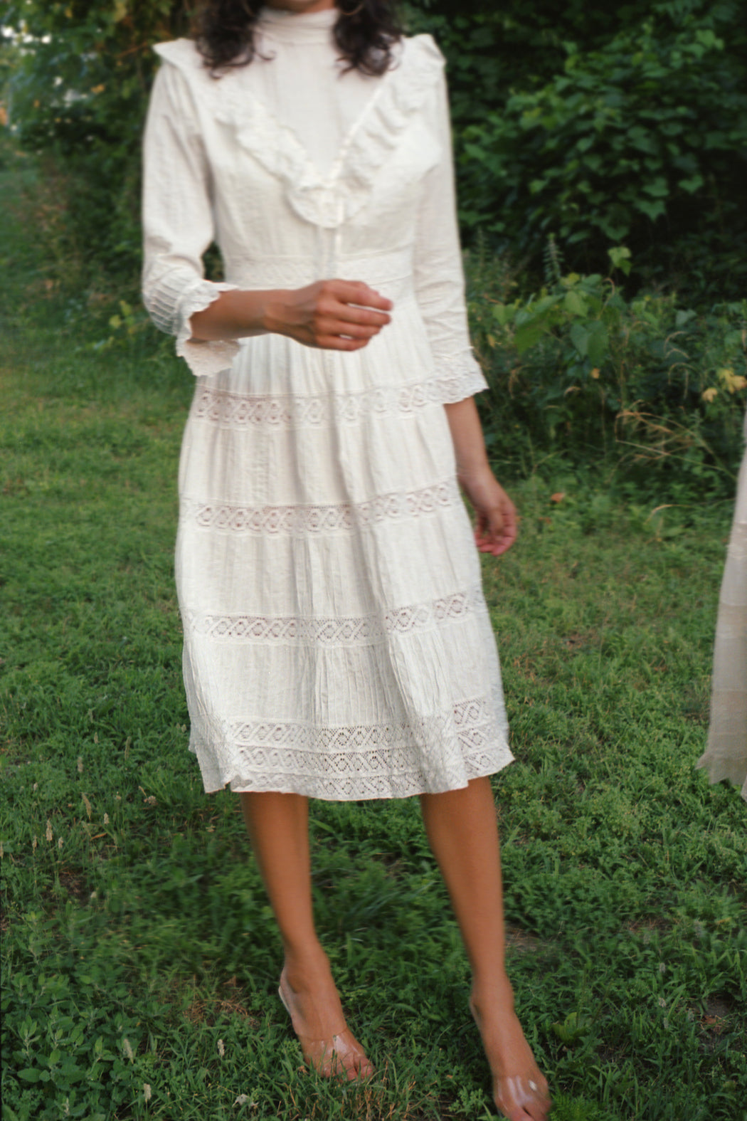 1960s Victorian Style White Dress