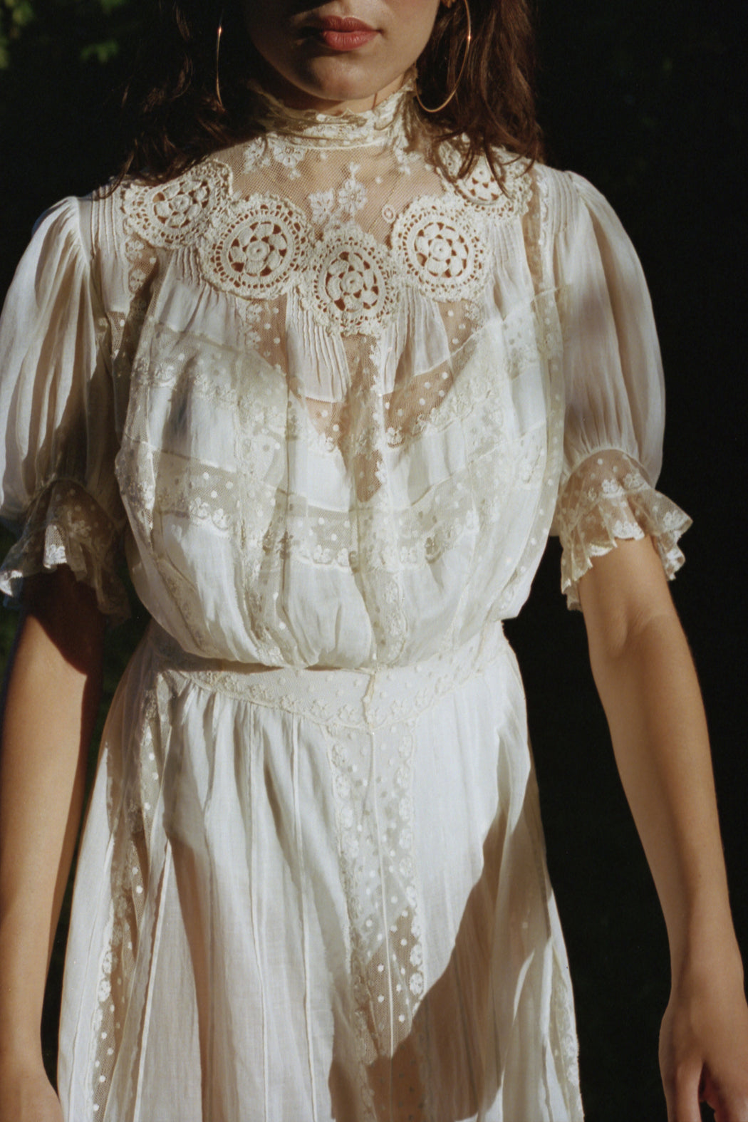 Victorian Era White Cotton Gown