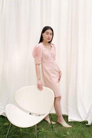 She Shells Peach Puff Sleeve Dress