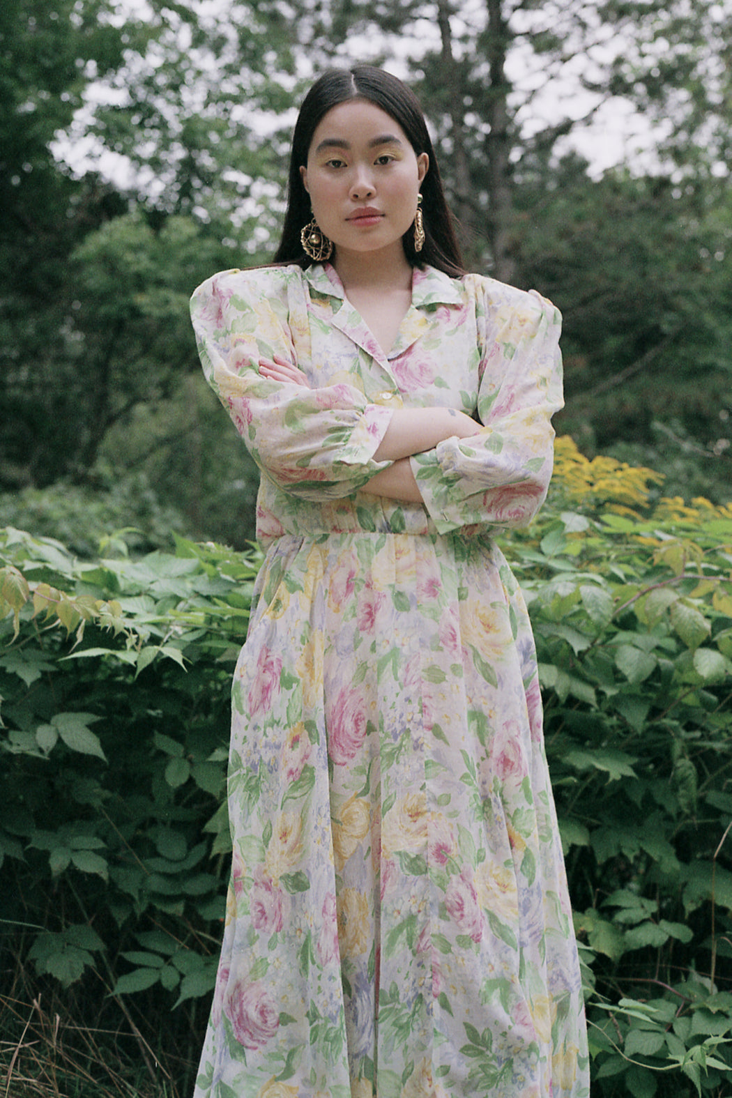 Soft Focus Floral Gauzy Shirt Dress