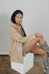 Ochre Leather Blazer