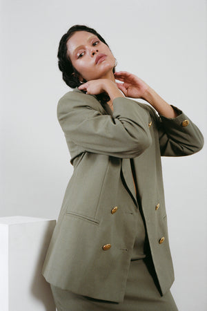 Olive Green 80s Skirt Suit