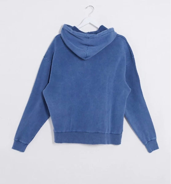 Oversize Washed Blue Hoodie