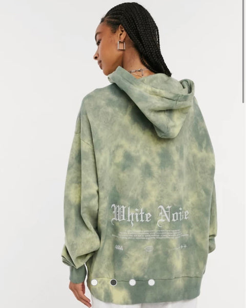 Collusion White Noise Tie Dye unisex hoodie
