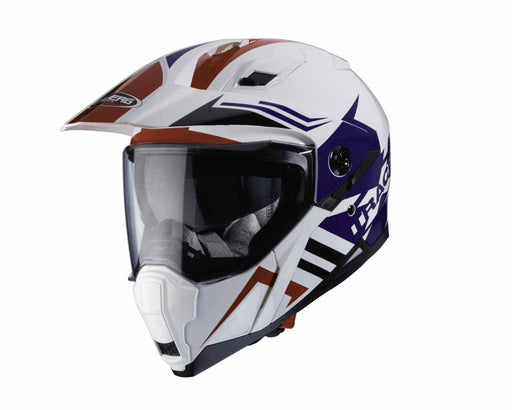Caberg Xtrace Lux Helm Wit Rood Blauw Hybride Adv Enduro Crossover Helmen