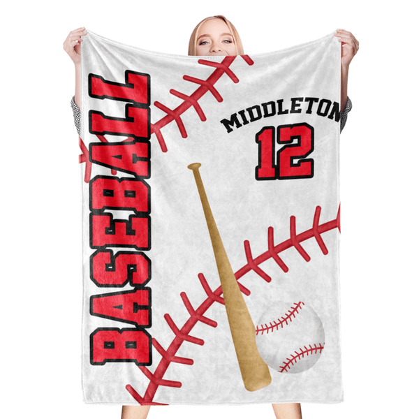 Custom Blankets Personalized Baseball Blanket Name & Number Fleece Blanket
