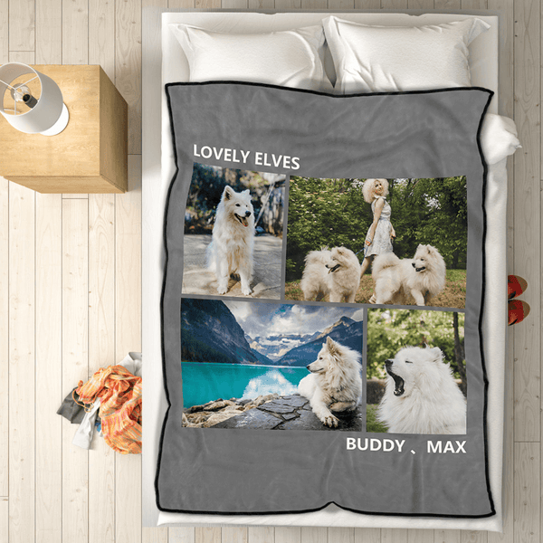 Personalized Pets Fleece Photo Blanket with 4 Photos