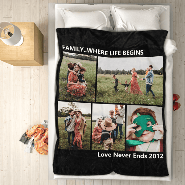 Custom Photo Fleece Blanket Friends & Family with 5 Photos 50x60
