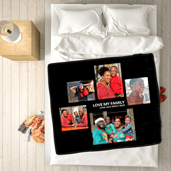 Happy Family 50x60 Custom Fleece Photo Blanket with 5 Photos