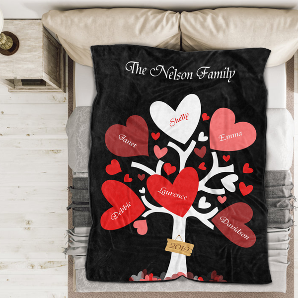 Personalized custom Name Blanket Leaves of Love Family Tree