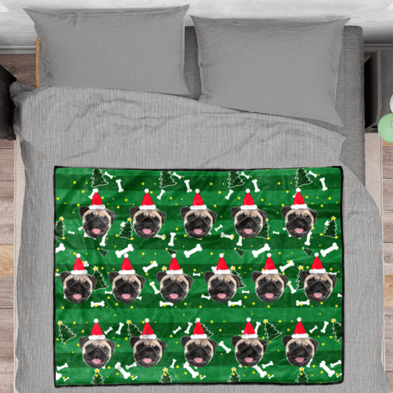 Christmas Tree Personalized Fleece Photo Blanket - Green