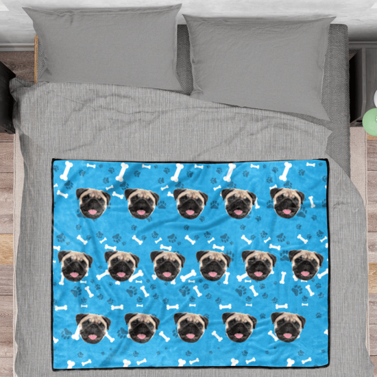 Dog Face Custom Fleece Photo Blanket