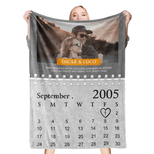 Custom Blankets Personalized Photo Blanket Calendar Blanket Photo, Name and Date