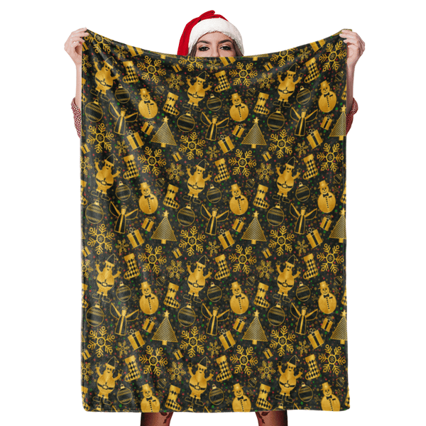 Christmas Blanket Gift Merry Christmas Blanket Golden Snowman Fleece Blanket