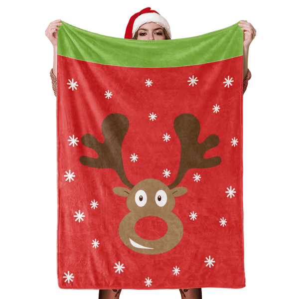Christmas Blanket Gift Christmas Snowflake Christmas Deer Fleece Blanket