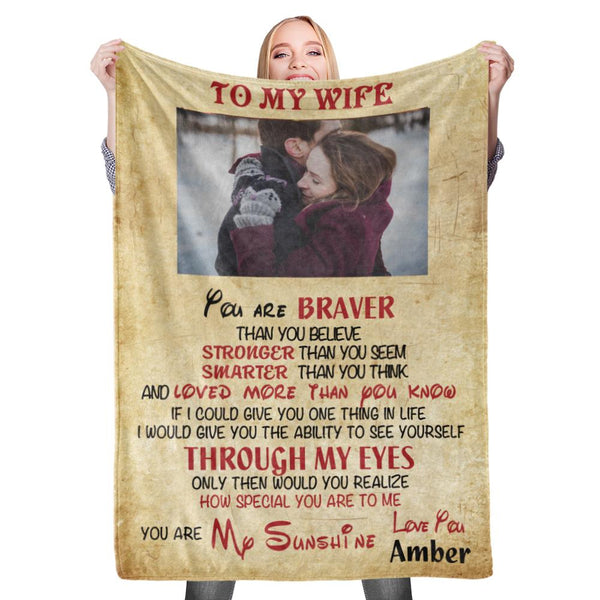 Personalized Custom Wife Blanket Valentine's Blanket Fleece Blanket