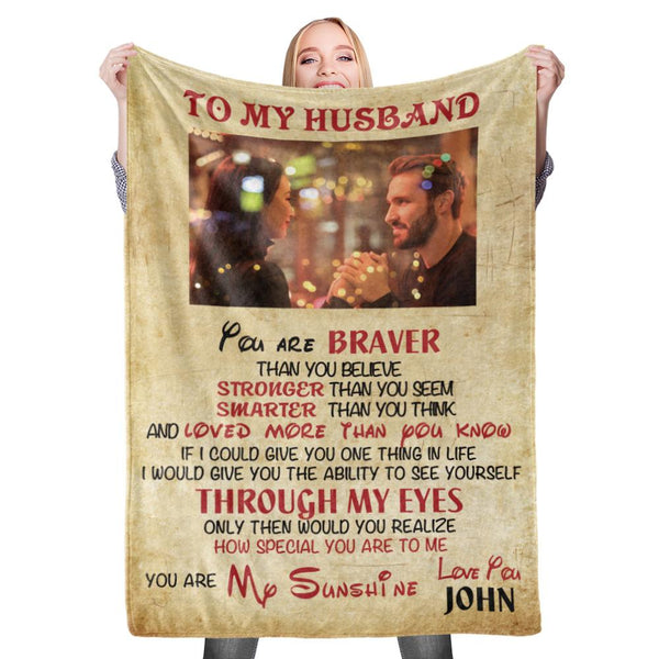 Personalized Custom To My Husband Blanket Valentine's Blanket Fleece Blanket