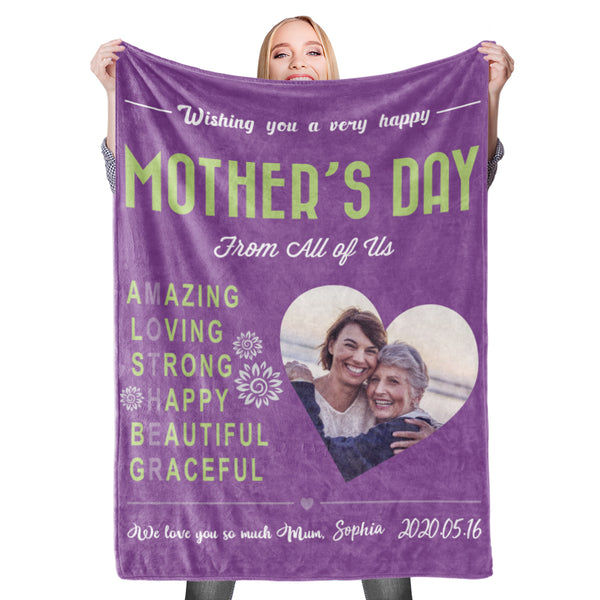 Happy Mother's Day Custom Photo Blanket Mother Blanket Mom Blanket Mother in Law Blanket - Blanket for Mom