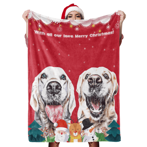 Christmas Dog Blanket Gift Custom Dog Blankets Pet Photo Painted Art Portrait Fleece Blanket