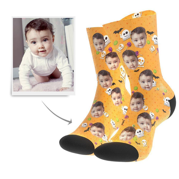 Halloween Ghost And Bat Custom Face Socks - Getphotoblanket