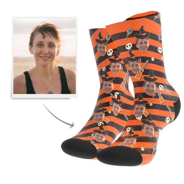 Halloween Witch Custom Face Socks - Getphotoblanket