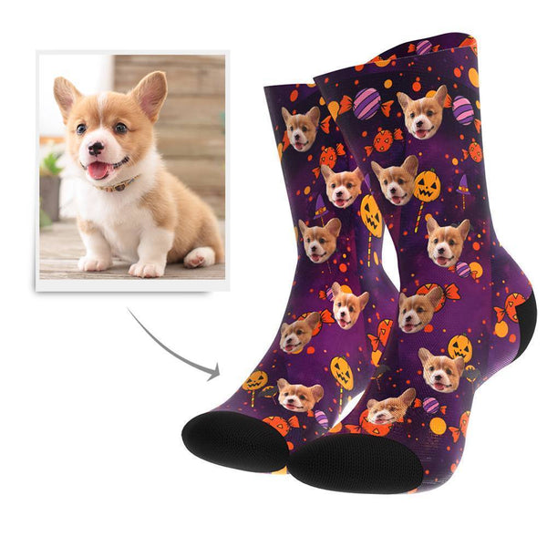 Halloween Candy Custom Face Socks - Getphotoblanket