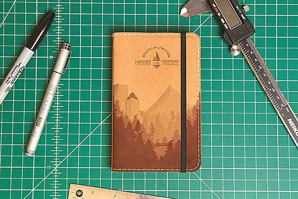 Engrave Goods Custom Laser Engraved Classic Leather Notebook for Bonfire Marketing